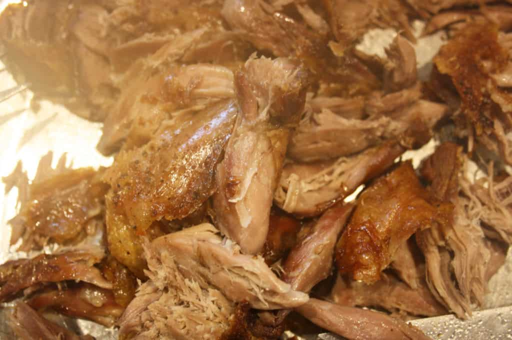 shredded duck meat.