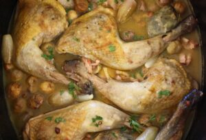 Guinea Fowl with Chestnuts and Bacon. Here's a really tasty and hearty casserole for the winter.