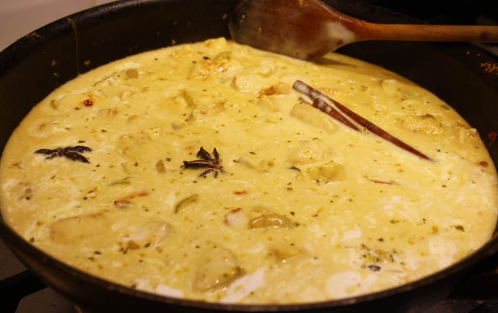 curry simmering in a pan
