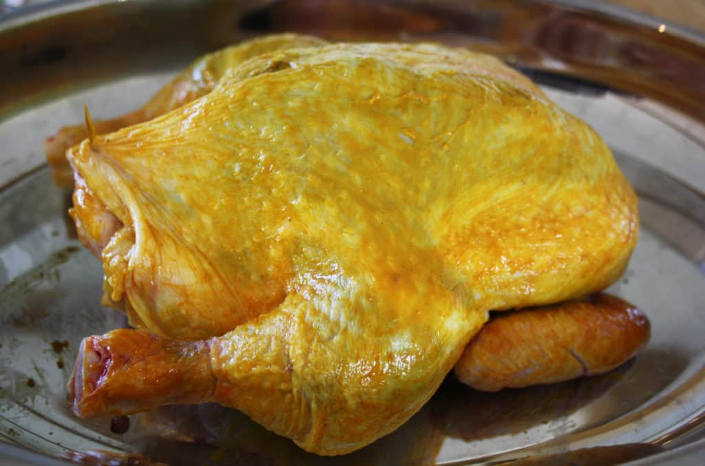 chicken basted with a turmeric mix