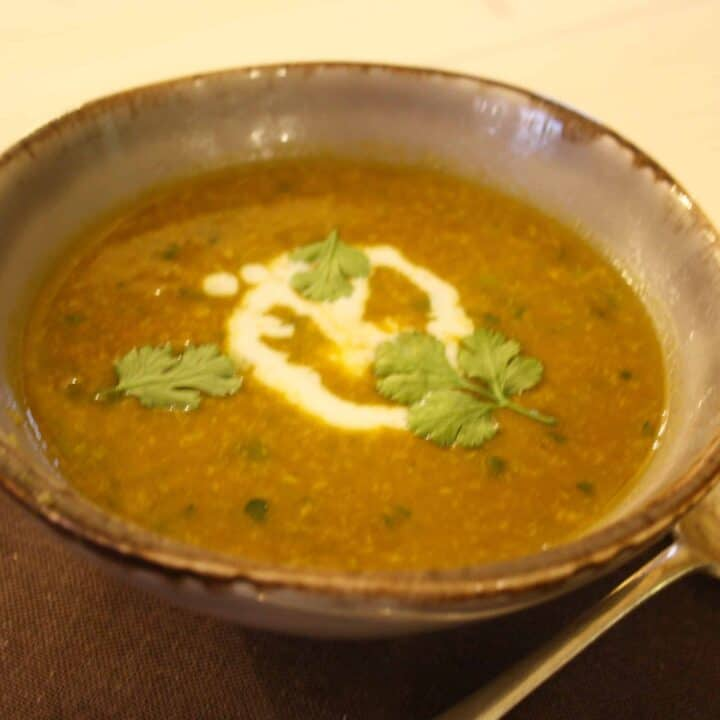 Curried Pumpkin Soup enriched with coconut milk and dried coconut and flavoured with coriander, cumin and tamarind for a rich, warming, winter soup.