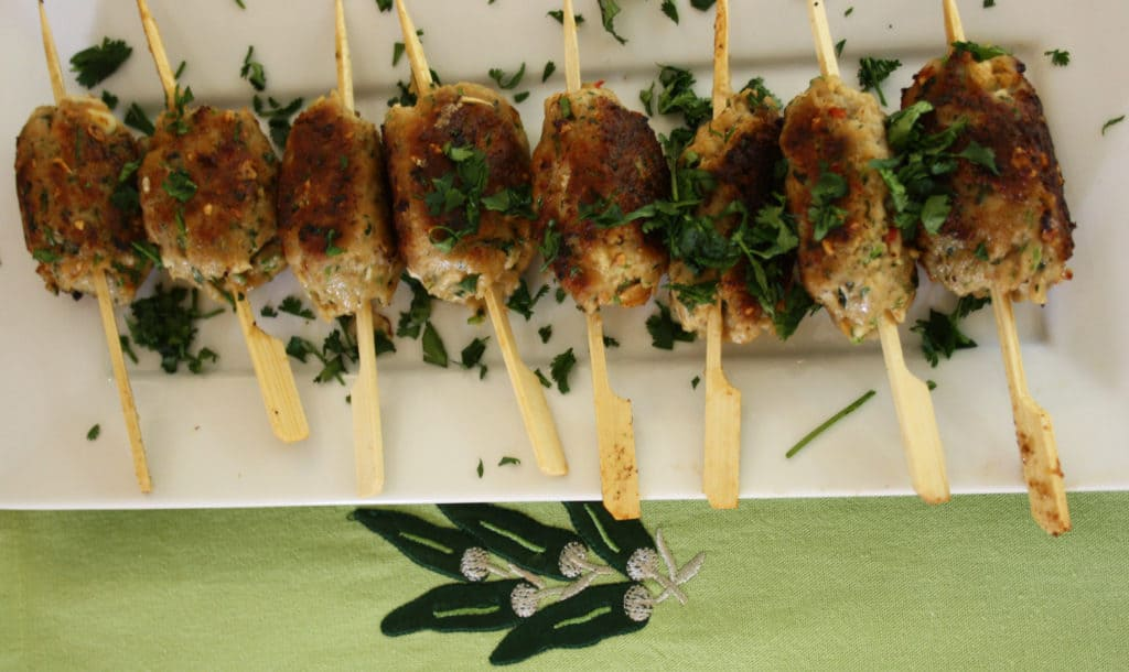 Asian Pork Koftas. Lean pork flavoured with ginger, coriander, garlic, peanut butter and chilli then griddled for a tasty treat.