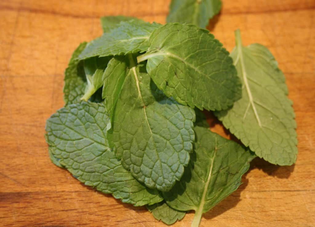 whole mint leaves in a pile