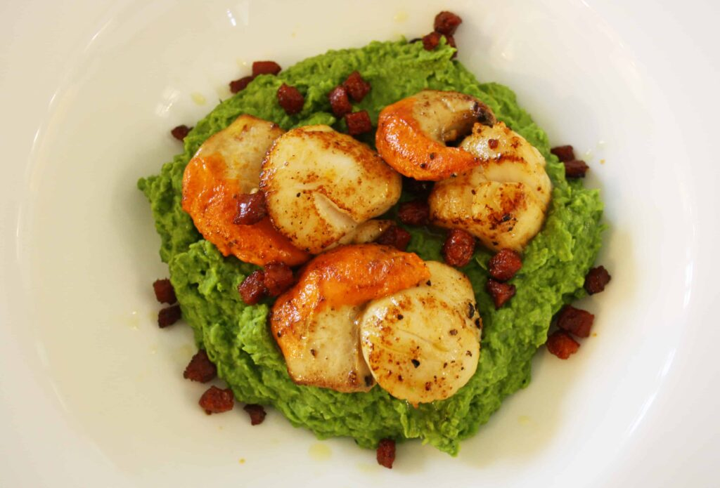 scallops on a mashed pea base