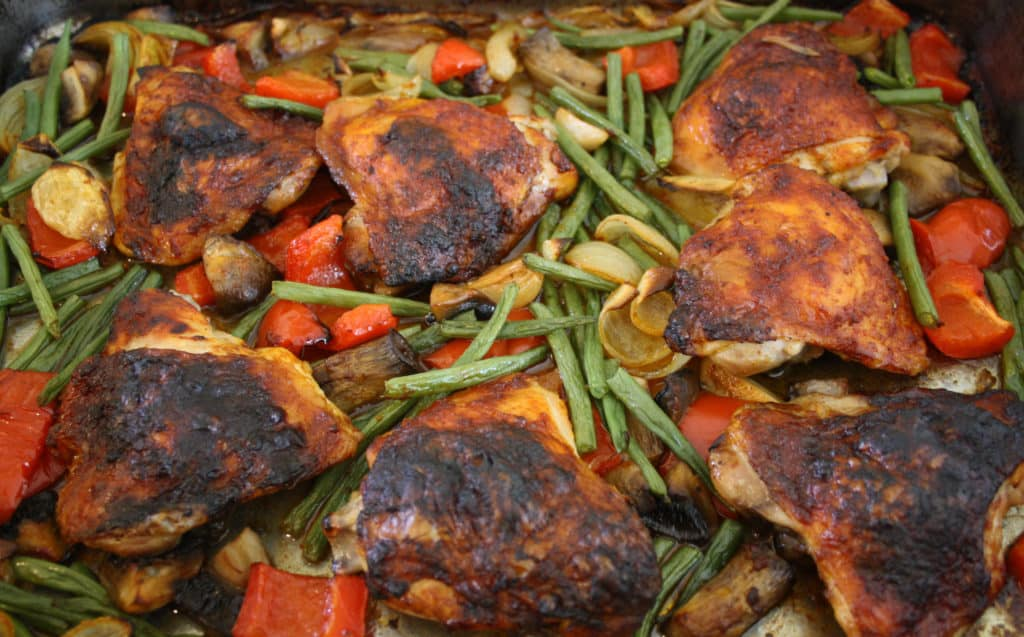 close up of the chicken dish