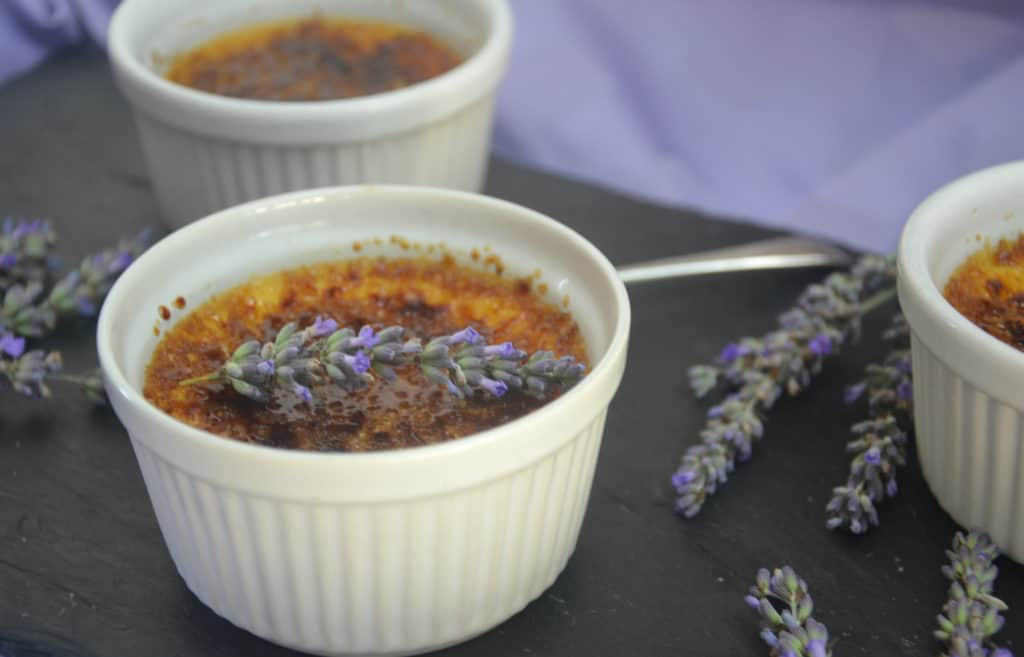 Lavender Crème Brûlée. A crisp, caramelised sugar topping a lavender infused cream baked custard. This dessert is easier than you think!