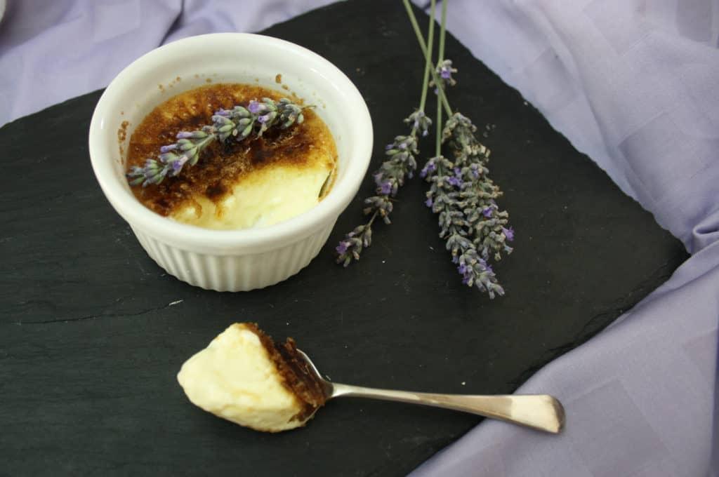 Lavender Crème Brûlée. A crisp, caramelised sugar topping a lavender infused cream baked custard. This dessert is easier than you think!