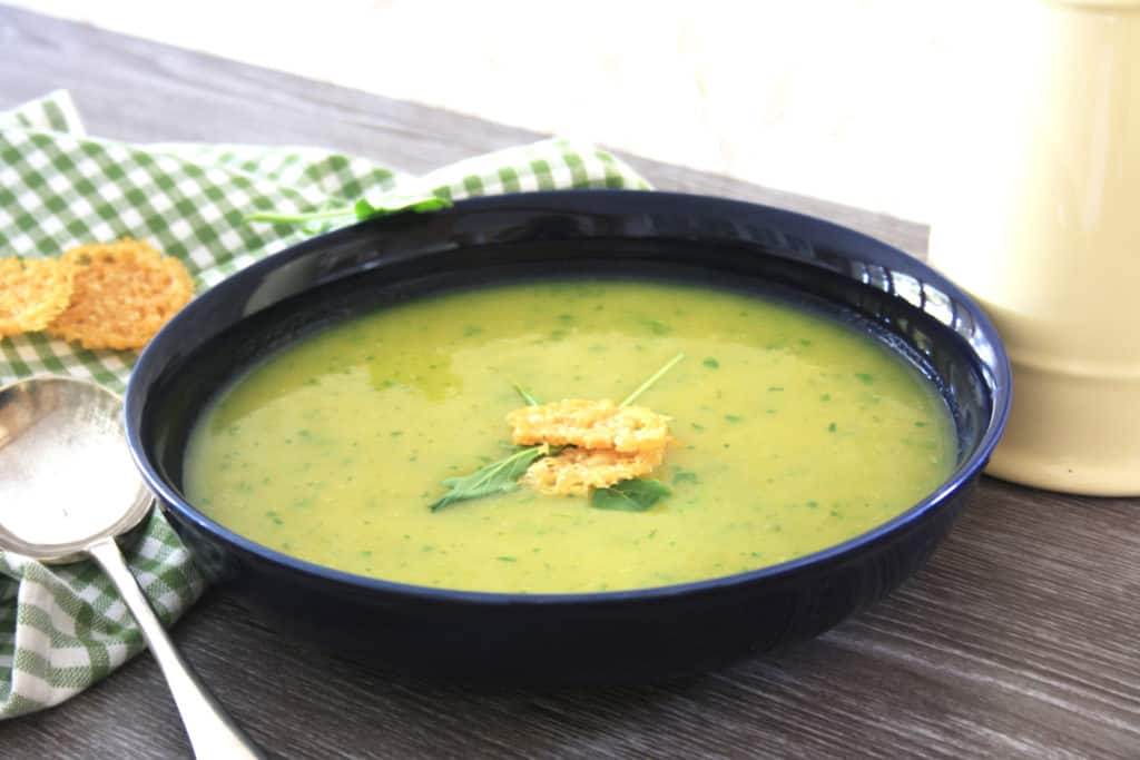 Potato and Leek Soup is simple to make, fat-free, gluten-free and is very economical to make. It's easy to add a dollop of creme fraiche or blue cheese too.