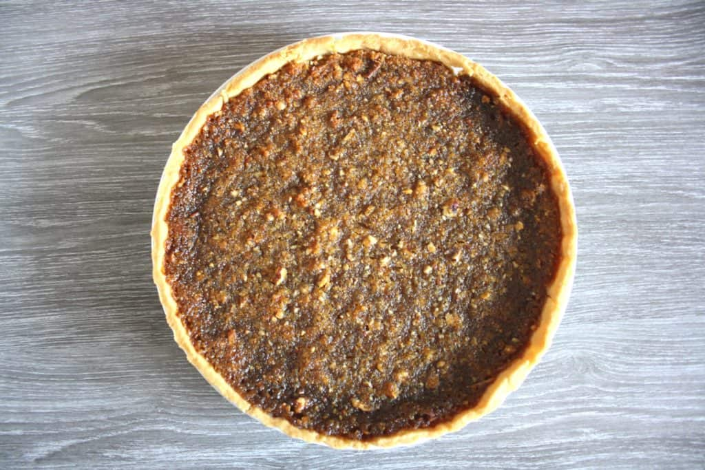 view of whole treacle tart