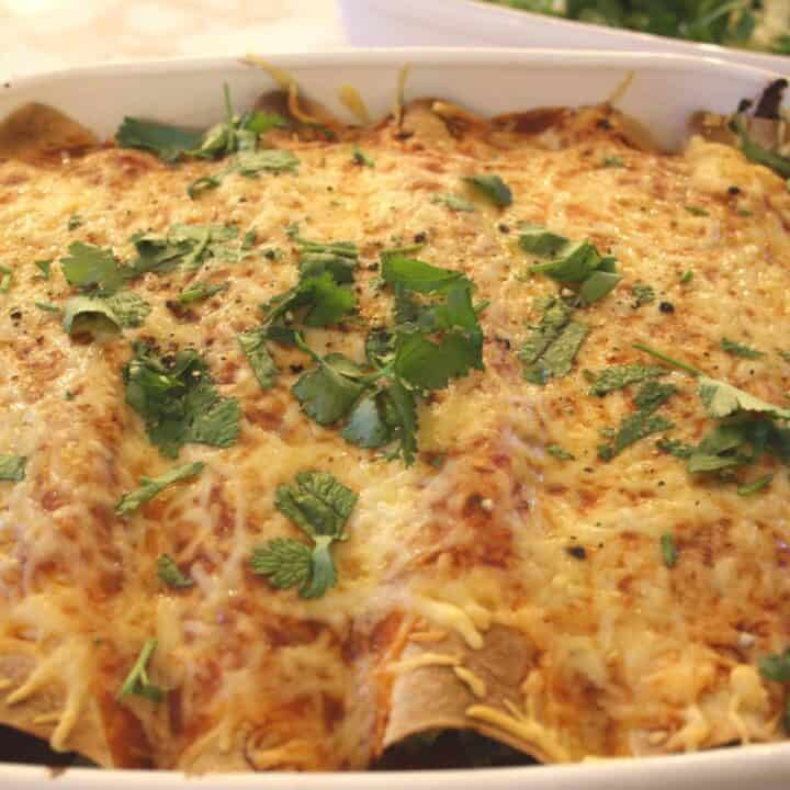 Chicken Enchiladas. Here's my easy recipe for chicken enchiladas made with leftovers and not a can or jar or sauce in sight!