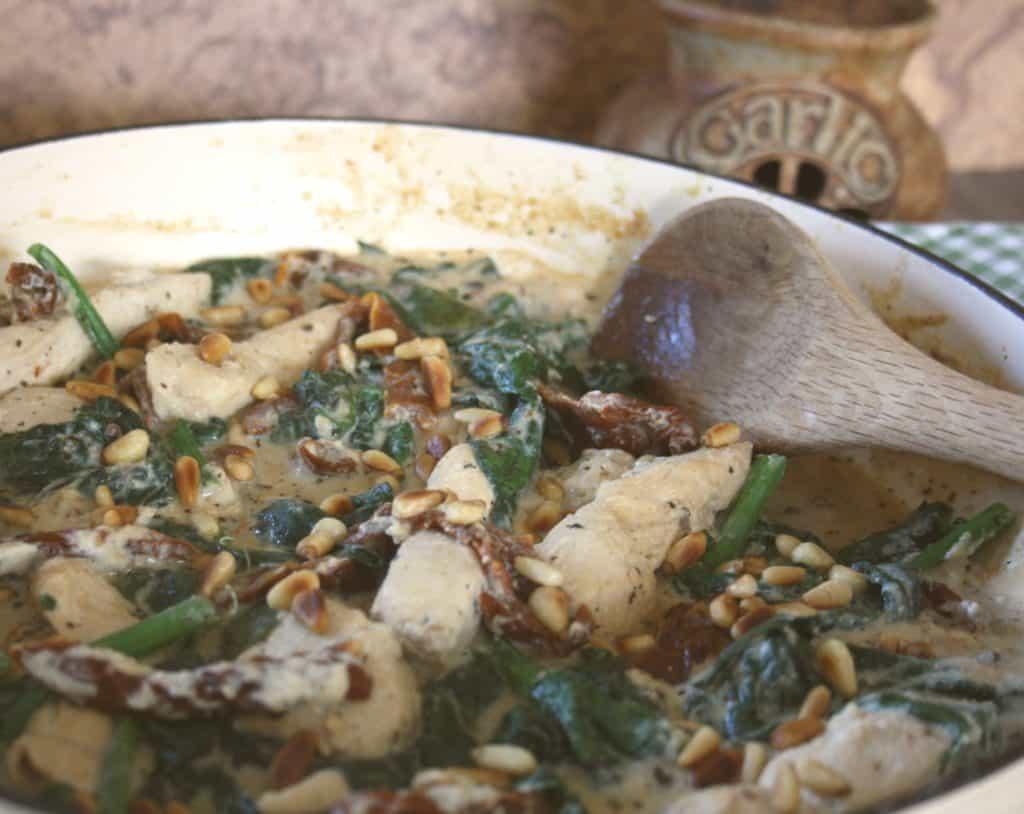 close up view of chicken casserole.