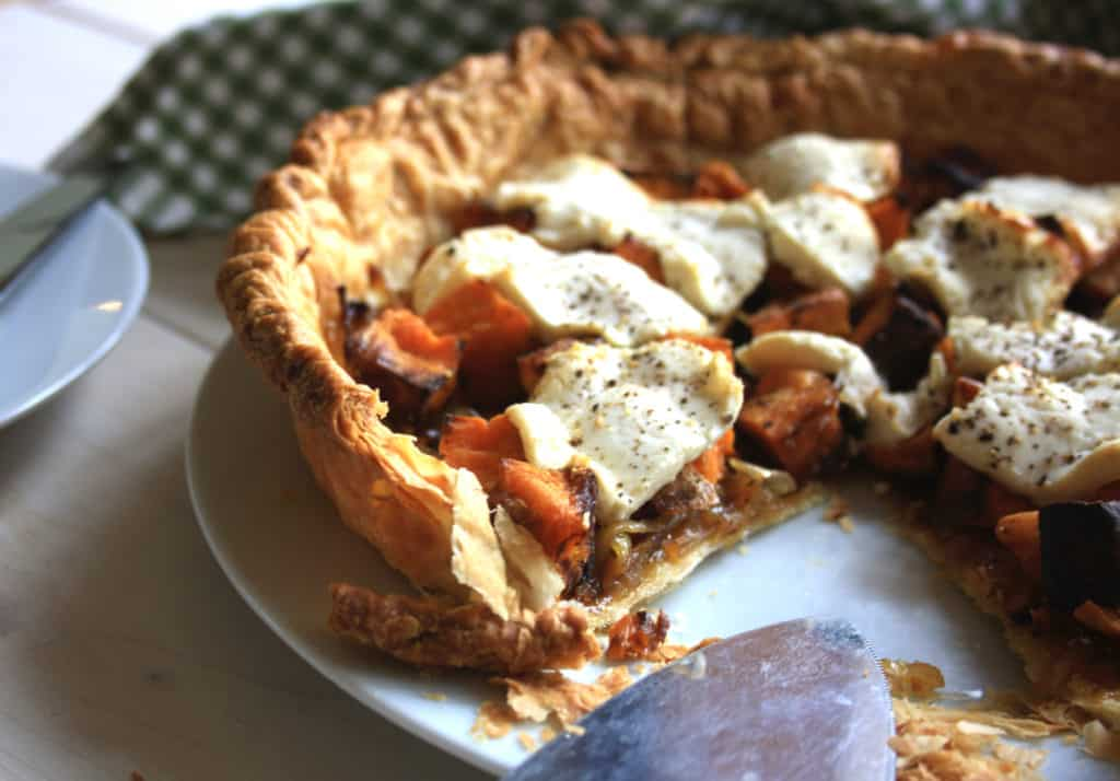 Roasted Sweet Potato Tart with Goat Cheese & Onions. Simple tart with ready made puff pastry filled with vegetables and goat cheese.