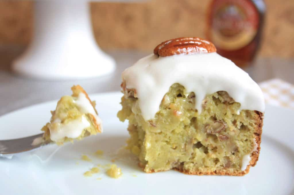 Pecan Banana Avocado Cake (with no added fat). Here is a one bowl, all in one easy cake mix. With no added oil or butter it's moist,nutty and delicious!