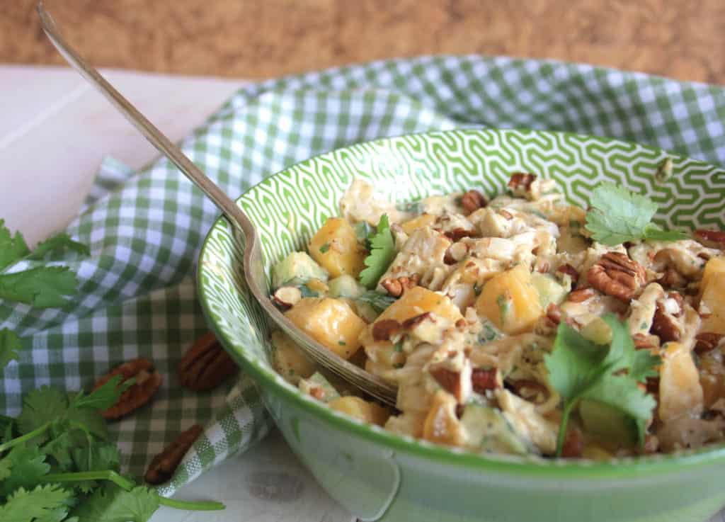 Coronation Chicken Salad with Mango. Here's a simple British salad using leftover cold chicken, spices, fresh mango and pecans.