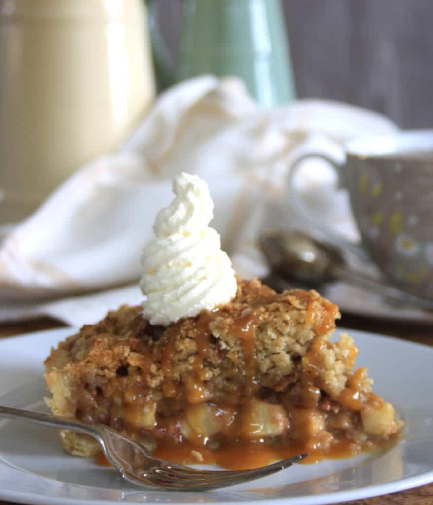 slice of caramel apple tart