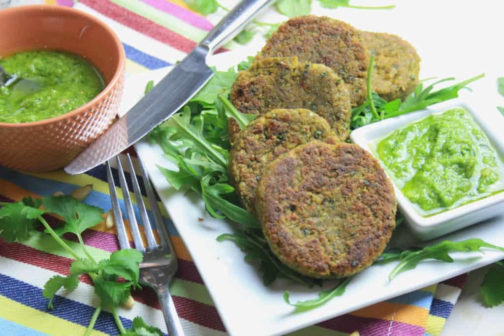 plate of falafel burgers and pesto
