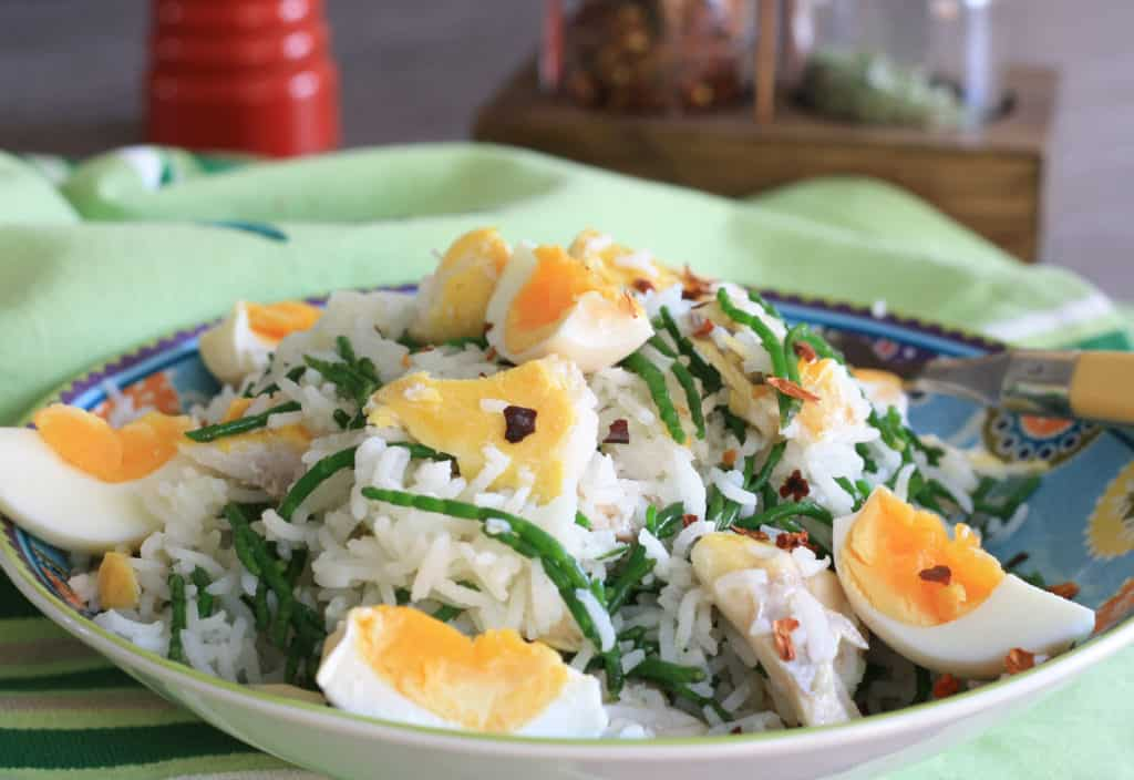 bowl of rice and eggs and fish