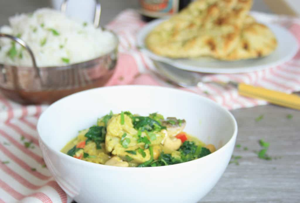 vegetable curry and rice and naan