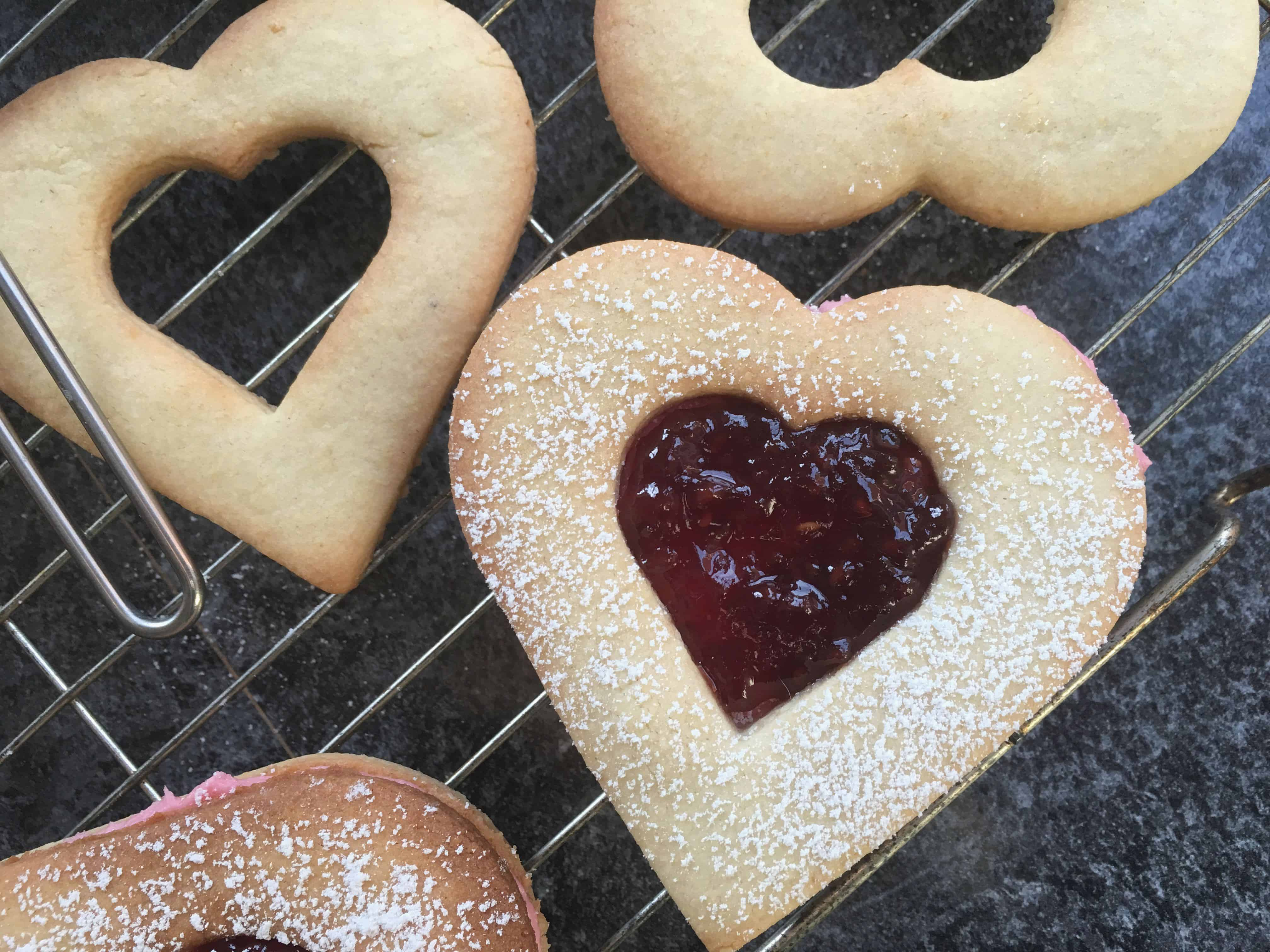 heart shaped Linzer biscuit