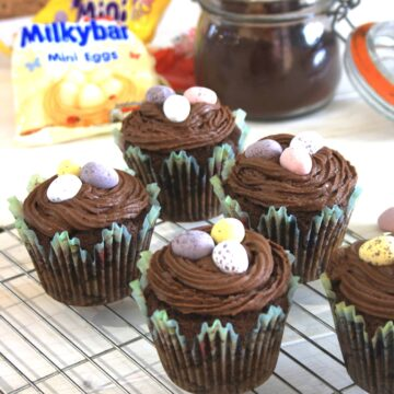 5 surprise easter egg cakes on a rack