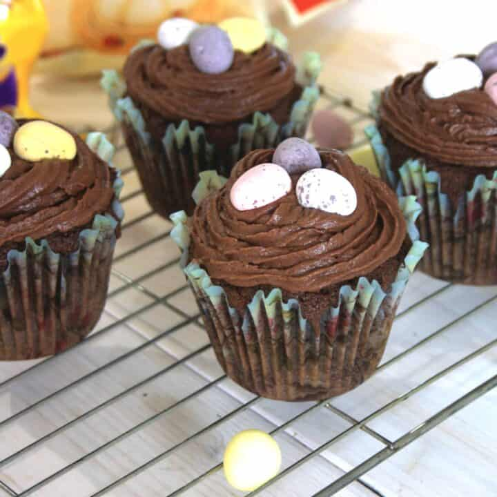 chocolate muffins on a wire rack