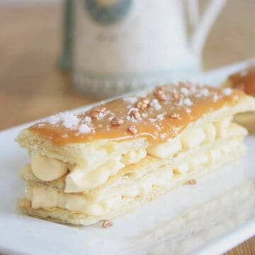 mille feuille on a plate ant an angle