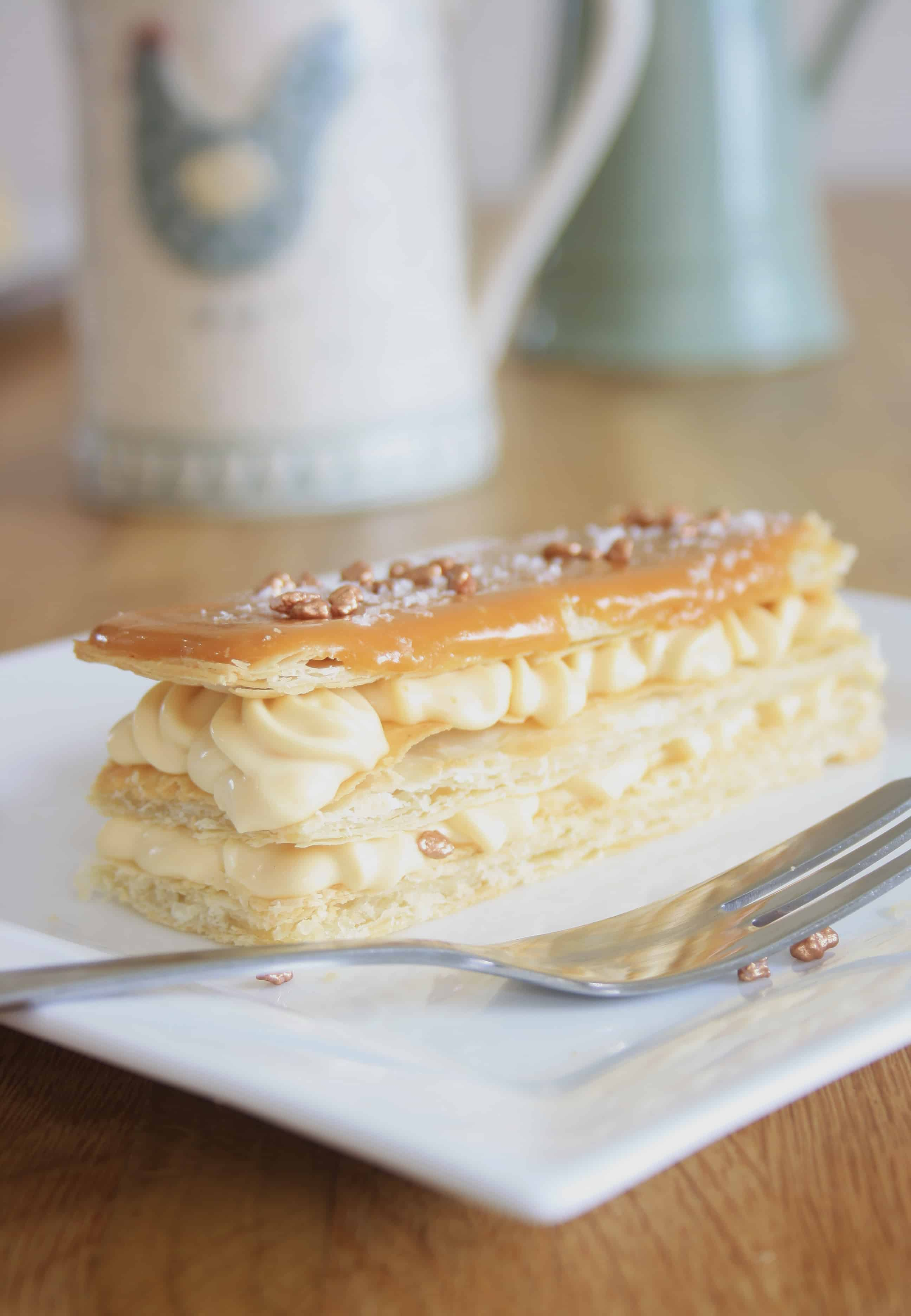 mille feuilles on a plate with a fork