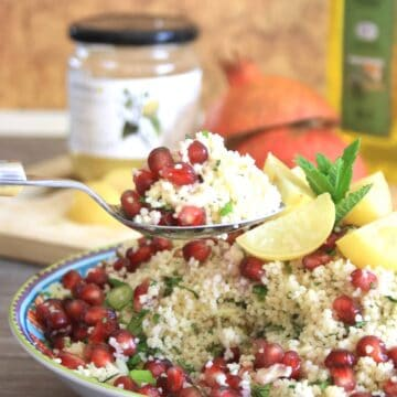spoonful of couscous salad