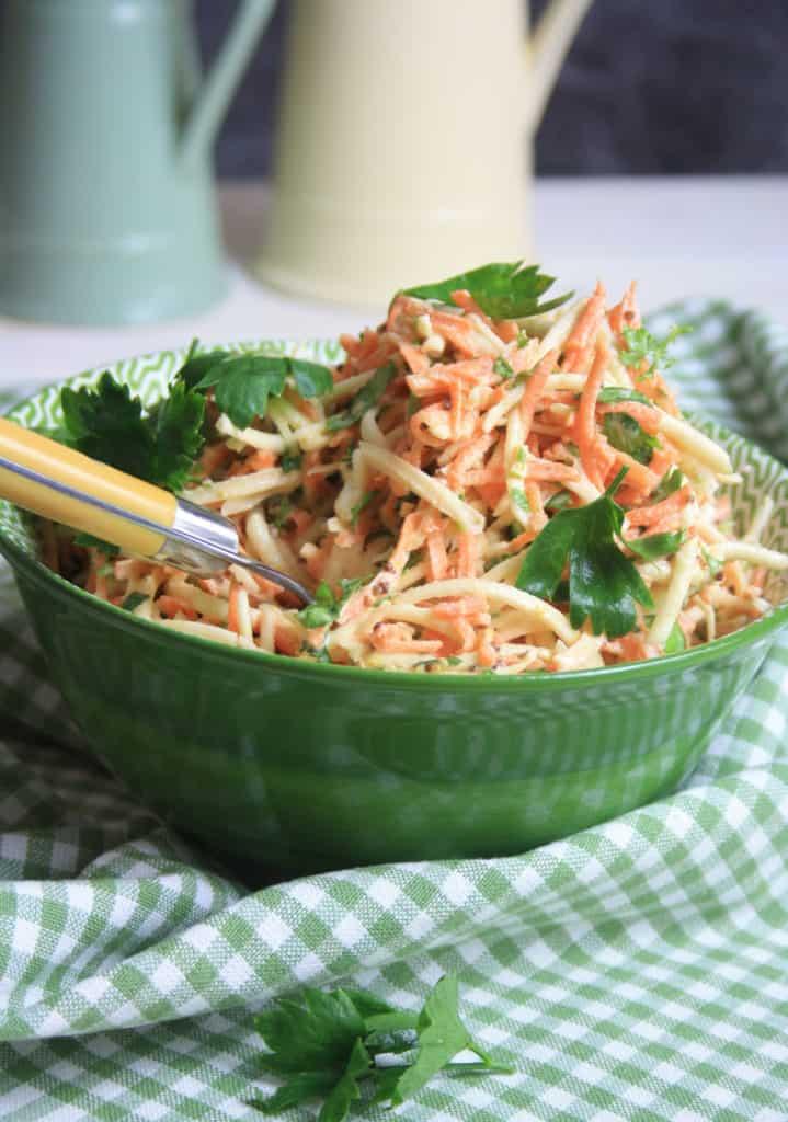 bowl of celeriac remoulade with carrots.