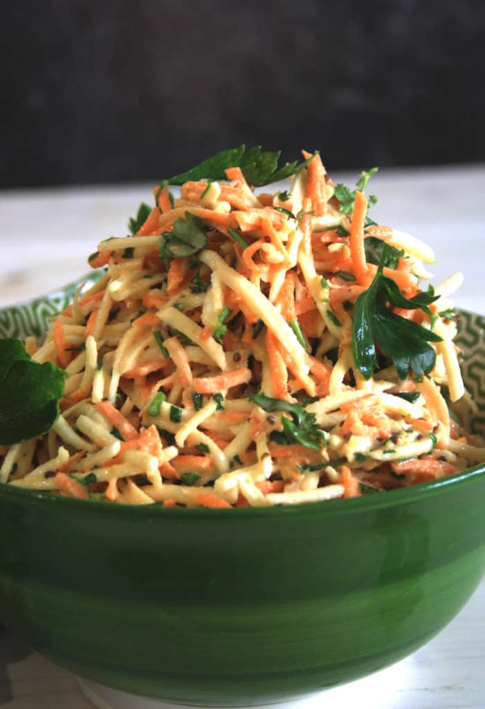close up of celeriac and carrot remoulade