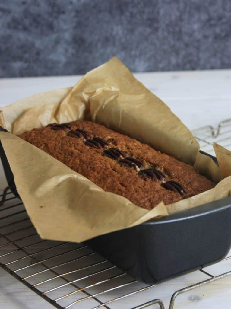 Cooked cake in the tin.