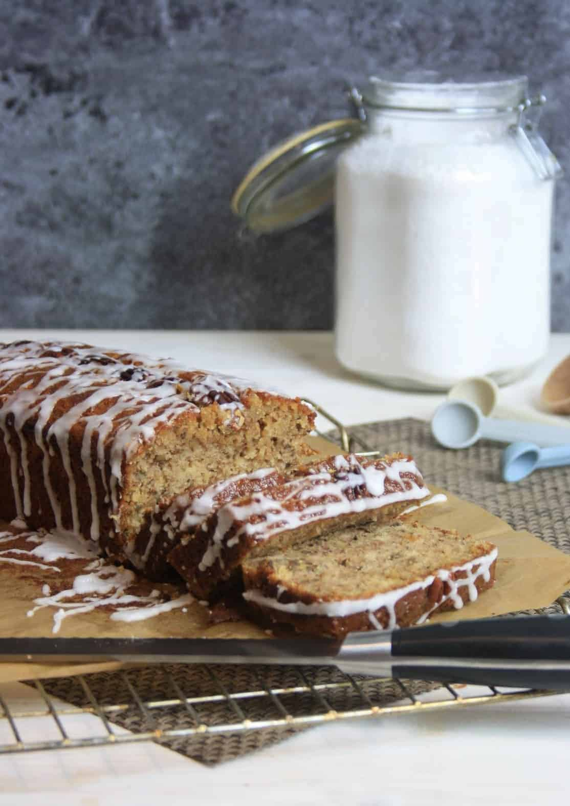 banana cake with slices cut