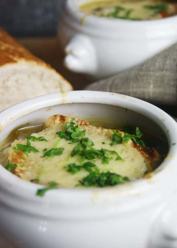 two bowls of French Onion Soup