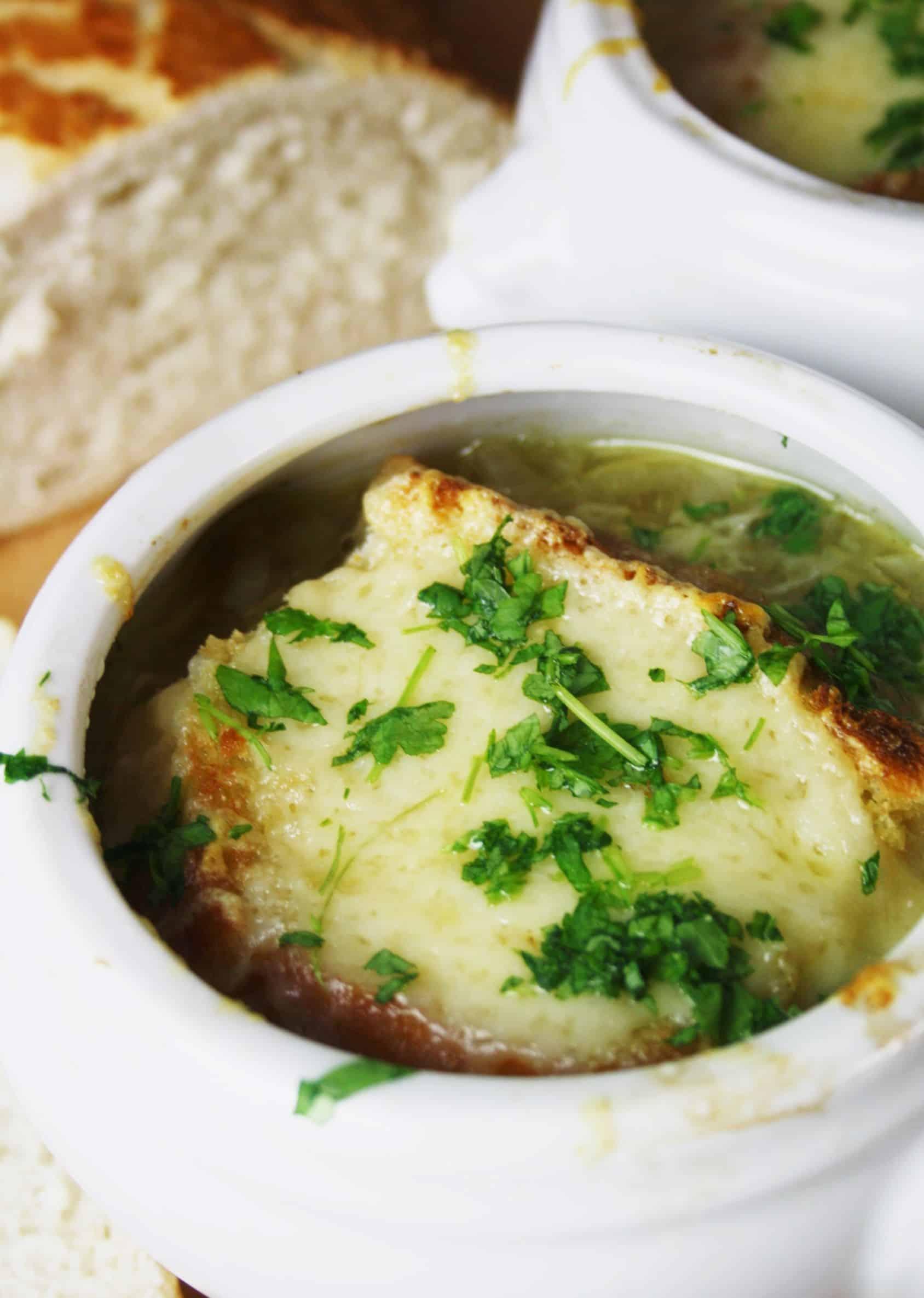 close up of onion soup
