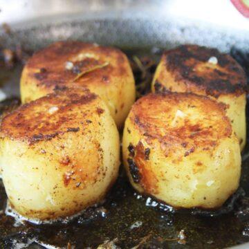 Close up side shot of fondant potatoes