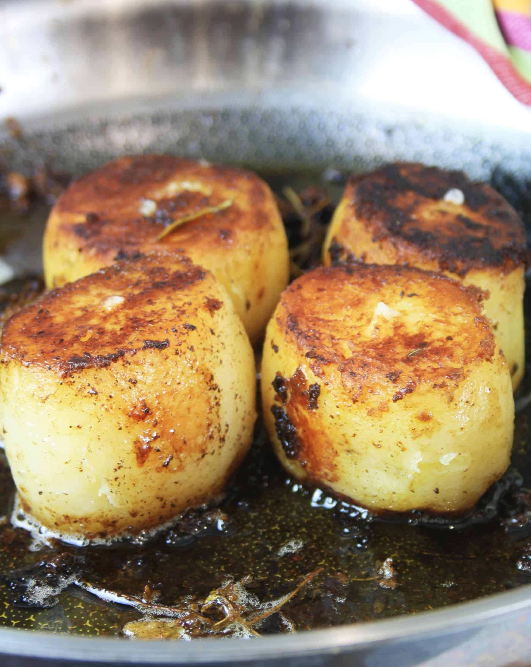 Close up side shot of fondant potatoes