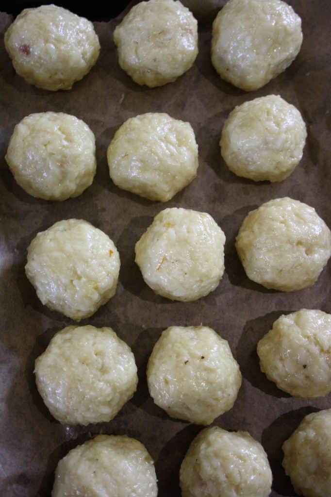 arancini balls on a tray