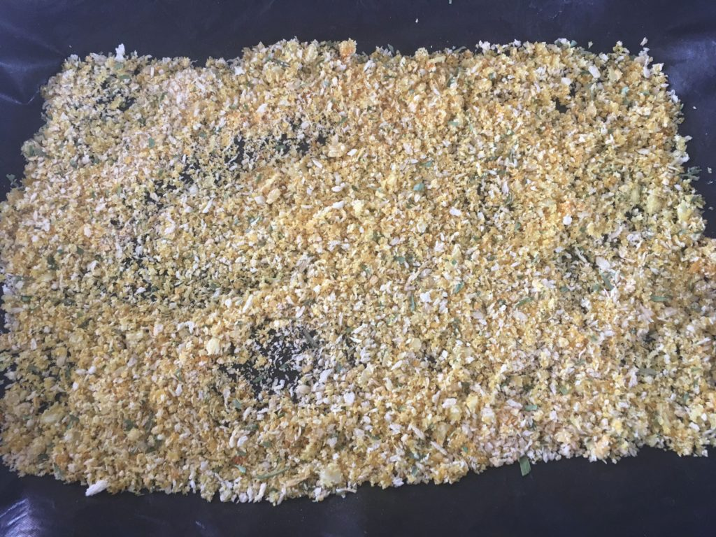 panko on a baking sheet