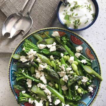 overhead view of endamame salad in a bowl