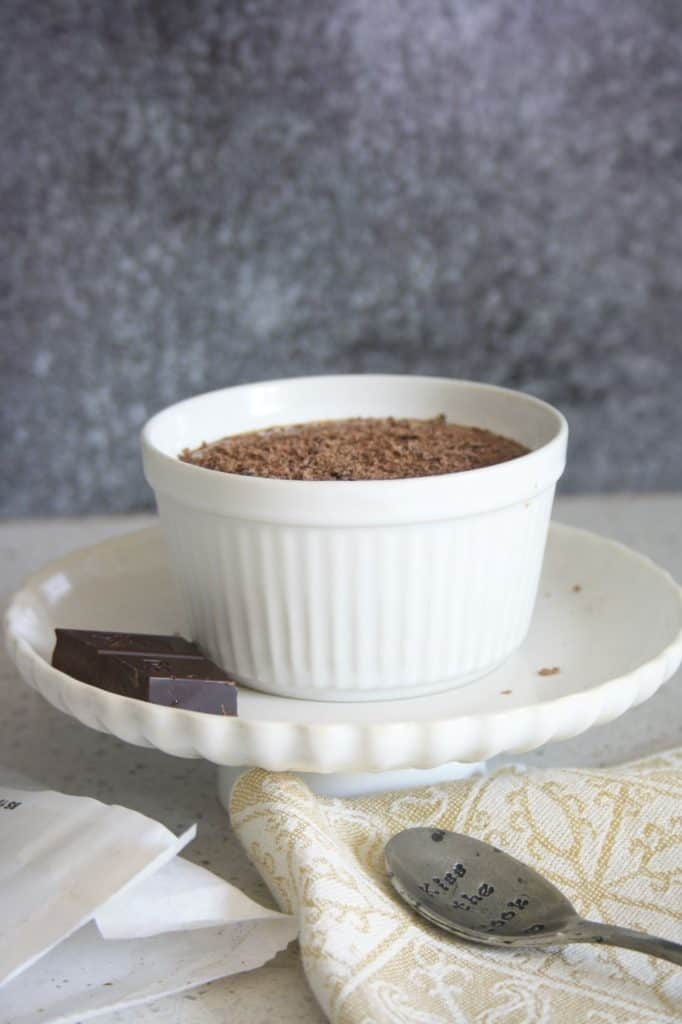 Side view of pot of chocolate mousse
