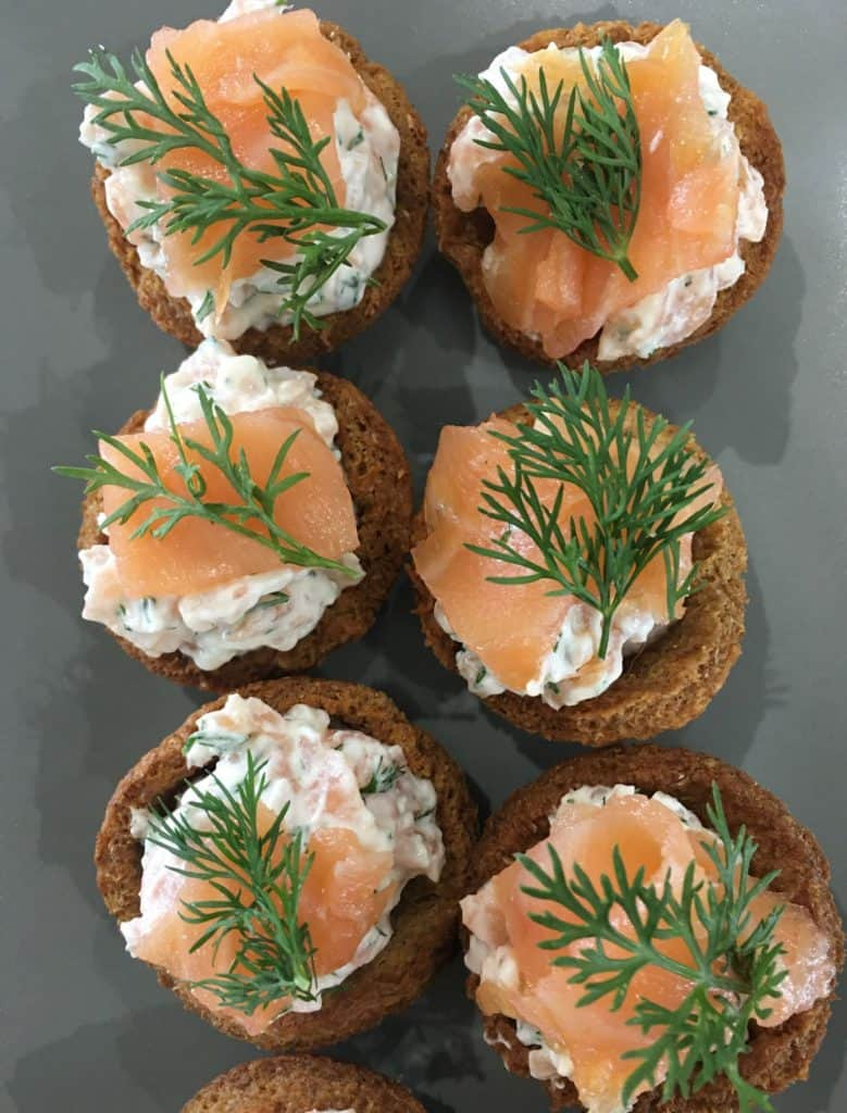 overhead picture of smoked salmon canapes