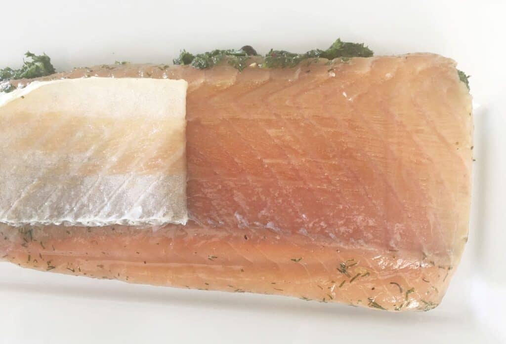 skin peeling from salmon