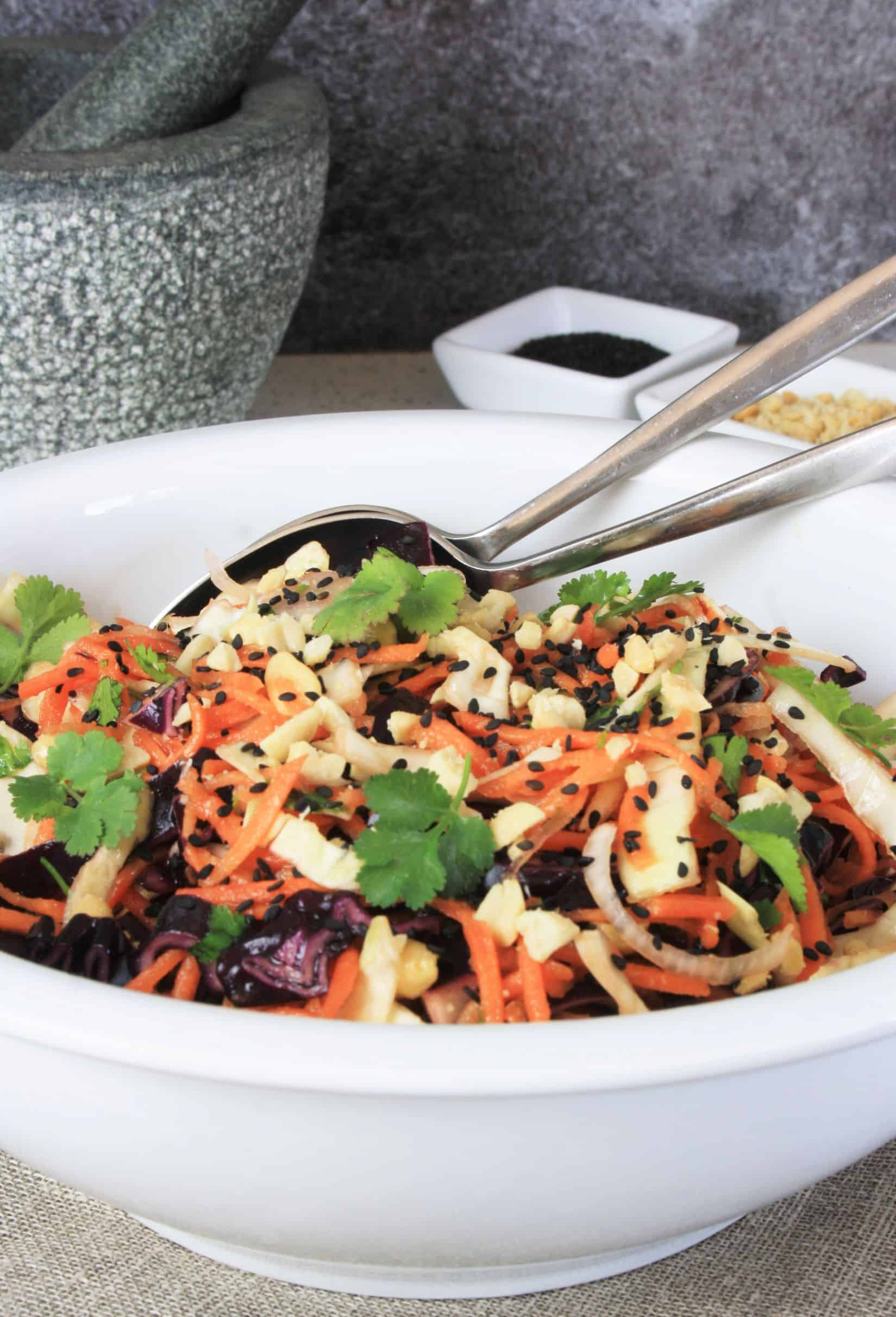 large bowl of Asian Coleslaw