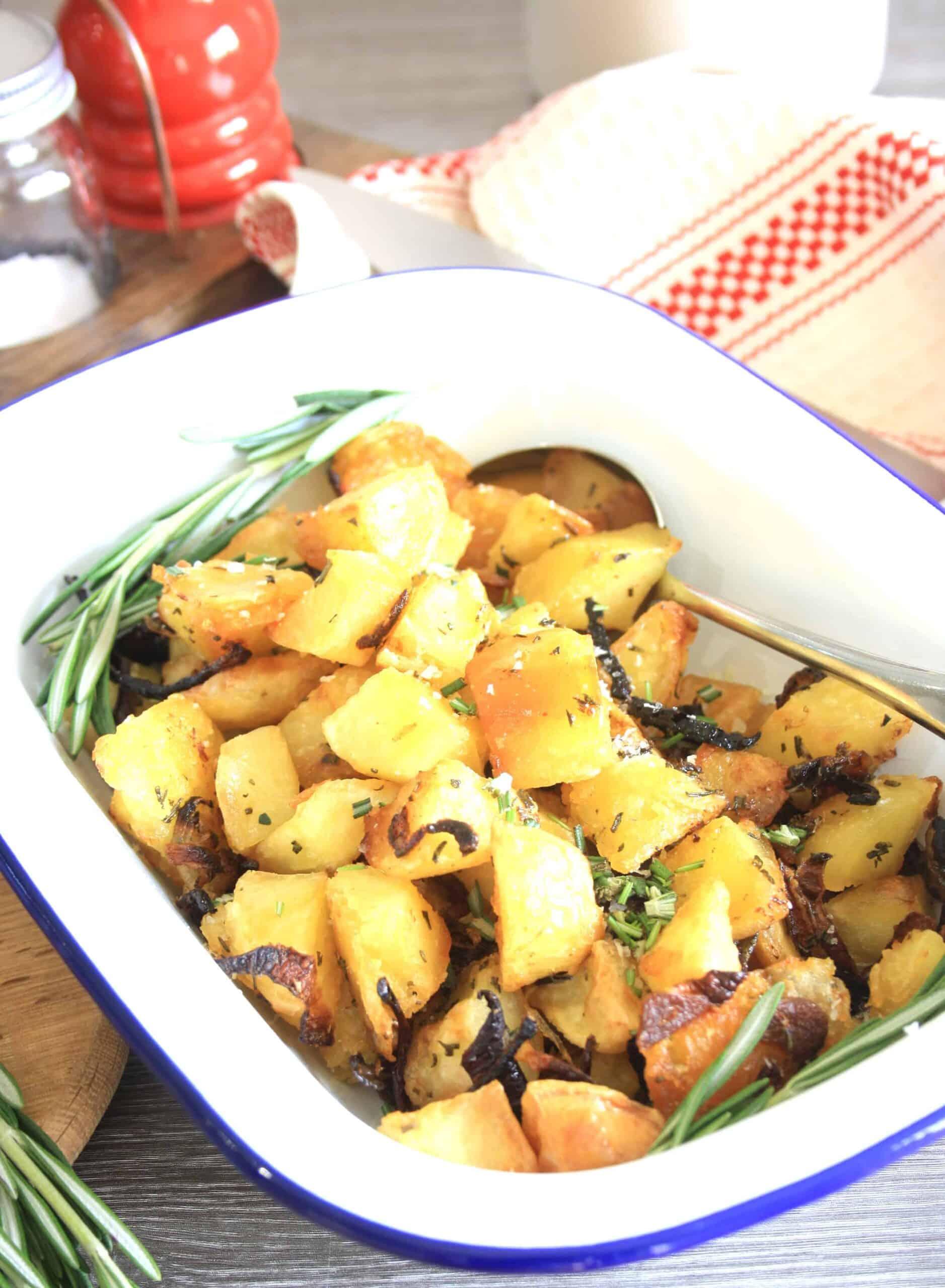 dish of potatoes.