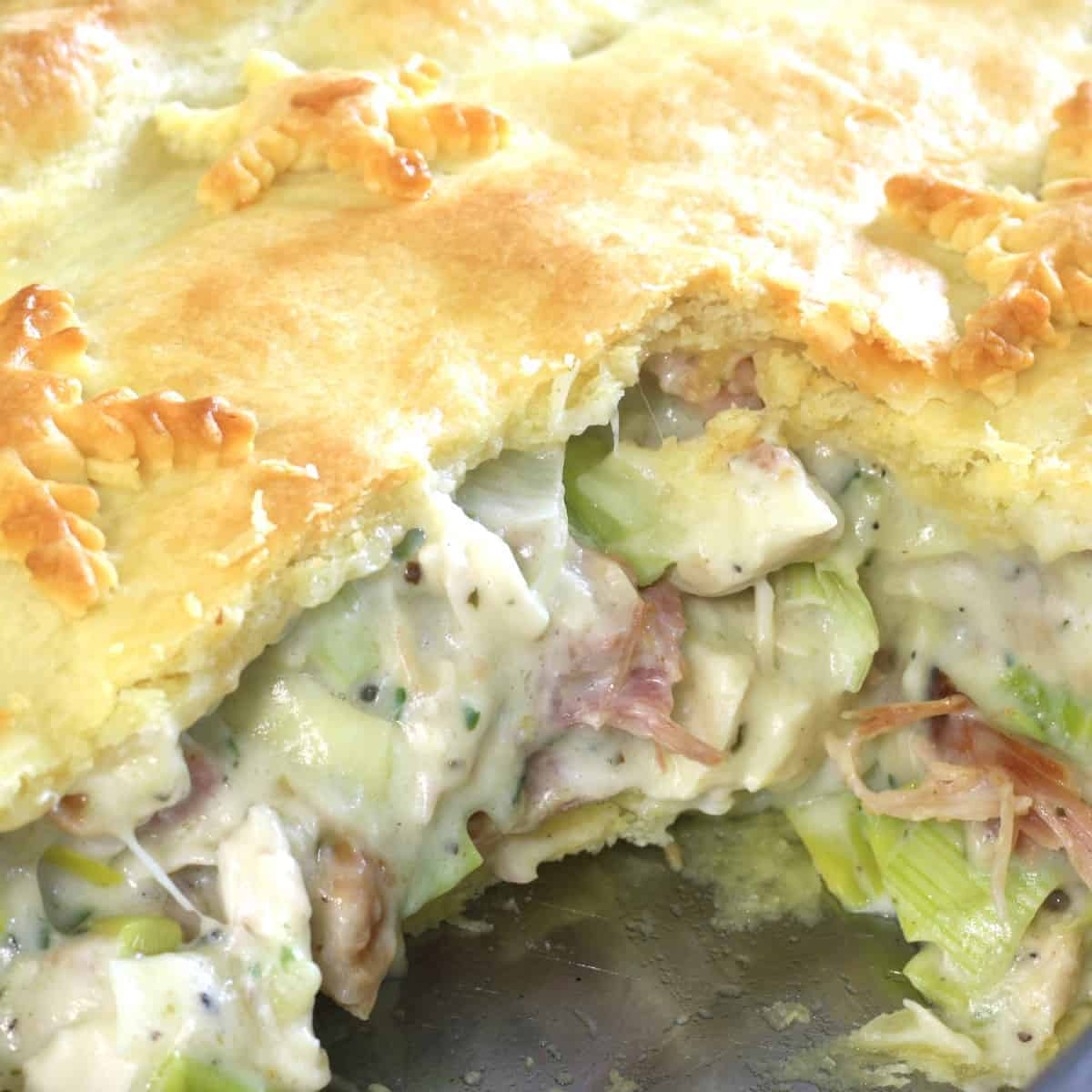 chicken and ham pie with store bought pastry and leftover meat.