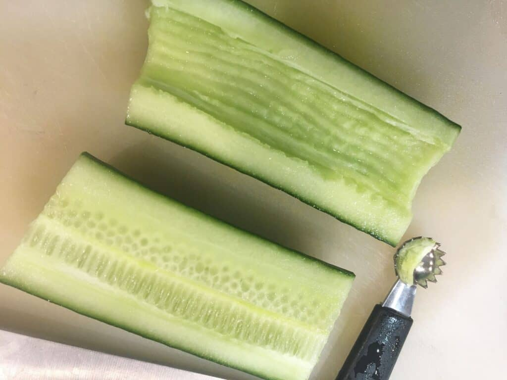 halved cucumber with seeds removed