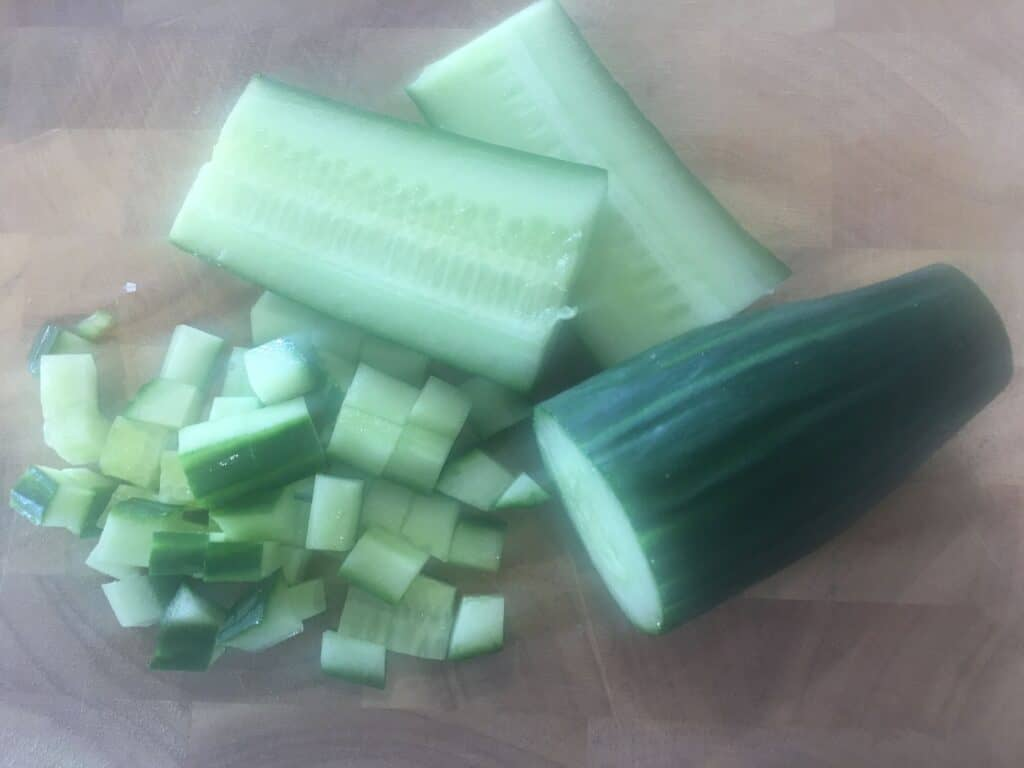 halved and chopped cucumber