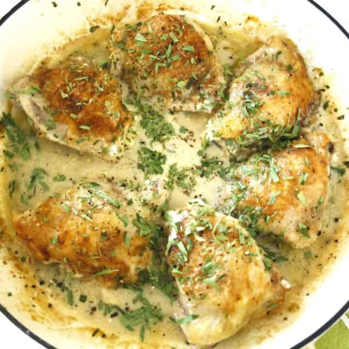 chicken with taRRAGON SAUCE IN A PAN