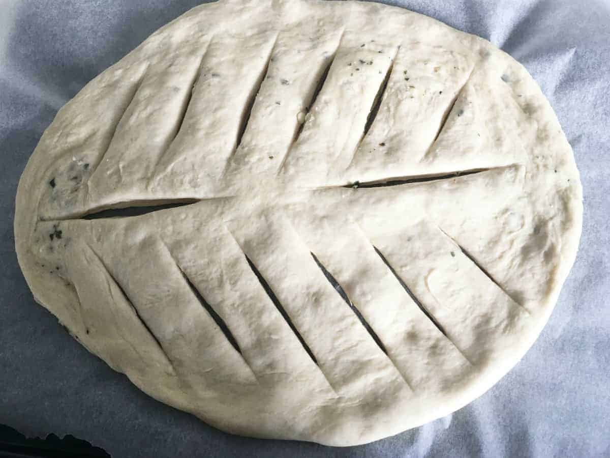 dough in an oval with slits cut like a leaf