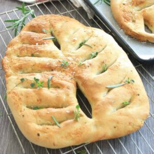 Fougasse bread on a rack